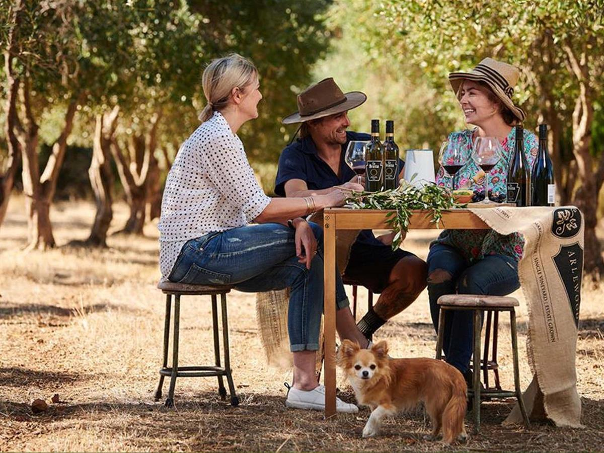 people sitting at a table and drinking wine in the vines at Arlewood Estate in Margaret River